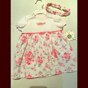 NWT Little Me white and pink floral dress